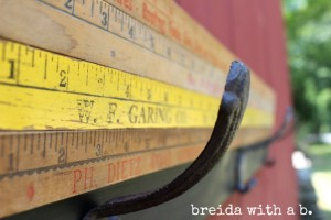 vintage yardsticks with hooks