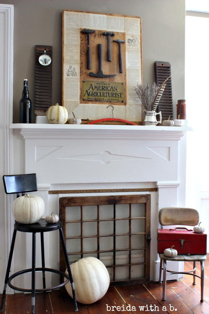 Vintage Industrial Farmhouse Fall Mantel